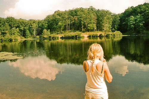 blonde, girl, nature, river, trees, water