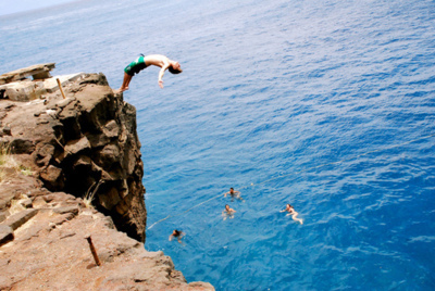 boy, cliff, diving, water