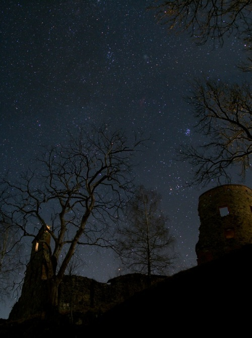buildings, cosmos, lock, mystery, night, nightsky, stars, the unknown, trees, unknown, wonder