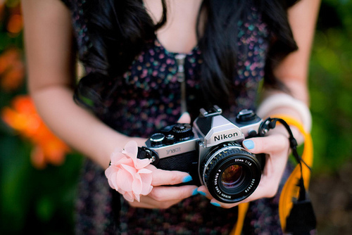 camera, cute, floral, flower, hair