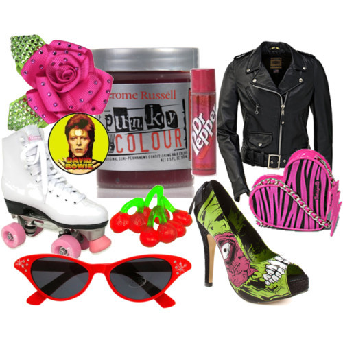chelsamander, cute, leather jacket, polyvore, punky colors