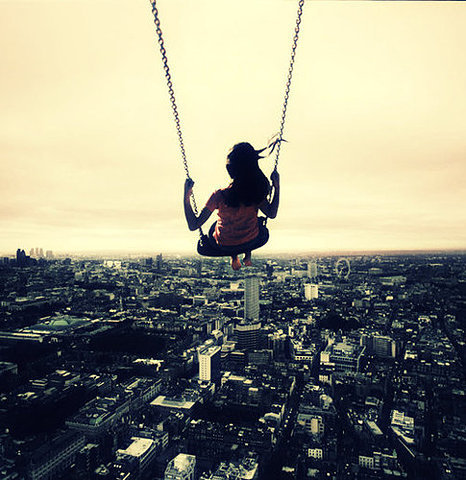 city, cute, girl, high, london, pretty, sky, sunset, swing
