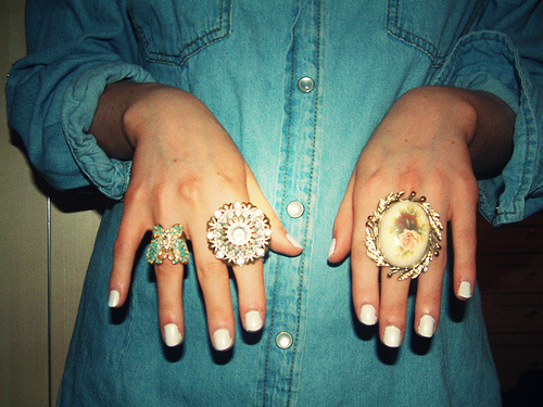 denim, fashion, nail polish, rings
