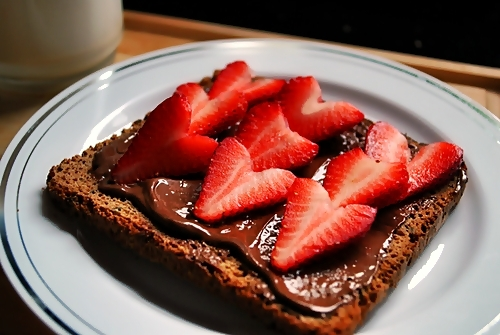 dessert, food, nutella, strawberries, strawberry