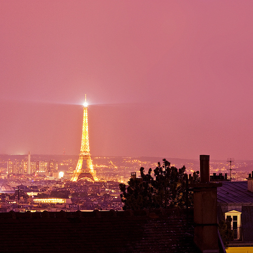 eiffel tower, night, paris, pink