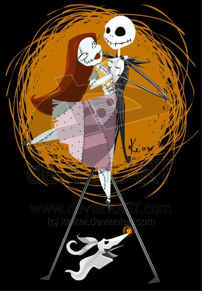 fan art, jack and sally, jack skelleton, nightmare before christmas, sally, tim burton