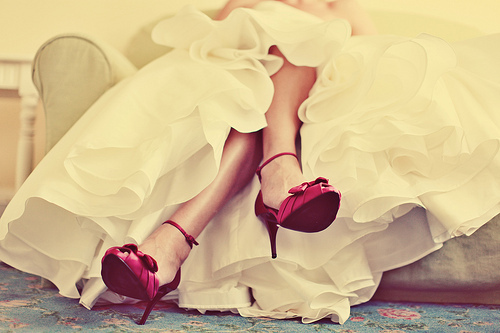 fashion, photography, red shoes, white dress
