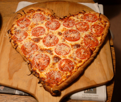 food, heart, pepperoni, pizza