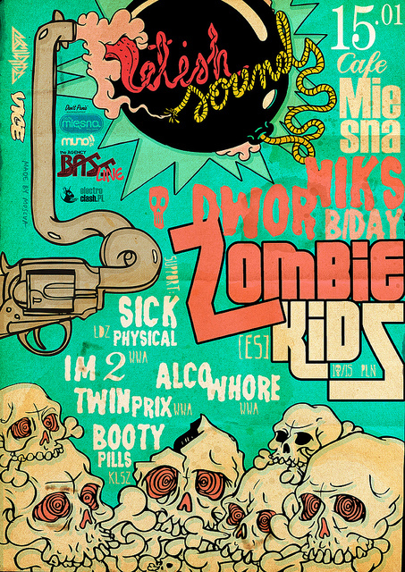 illustration, poster, zombie