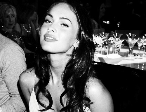 actress, black and white, brunette, eyes, gorgeous, hair, lips, megan fox, pretty