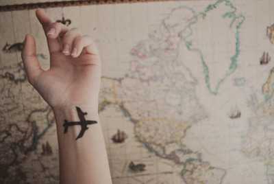 airplane, hand, map, nail, tattoo