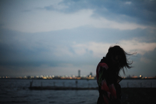 alone, cute, girl, hair, lonely, pretty, sky, style, wind