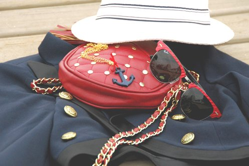 anchor, bag, chain, fashion, hat, jacket, navy, necklace, photography, pretty, ray ban, red, sailor, sunglasses