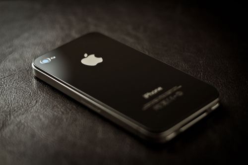 apple, black, iphone, iphone 4, leather, sleek