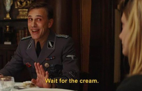 attendez la creme, basterds, chipmunks, christoph waltz, cream