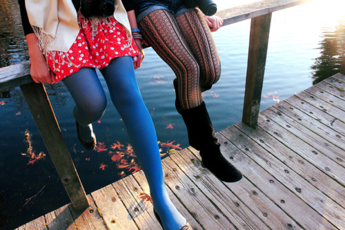 autumn, boots, fall, fashion, flats, lake, pretty, scarf, shoes, skirt, tights