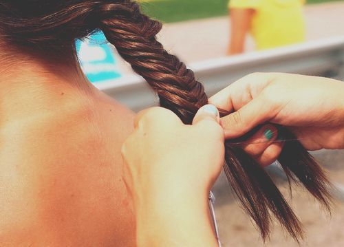 back, braid, braids, brunette, cute, fish bone, girl, hair, photography
