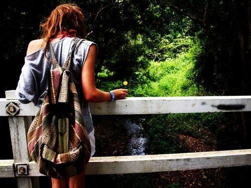 backpack, bridge, girl, grass, green, lake, tan