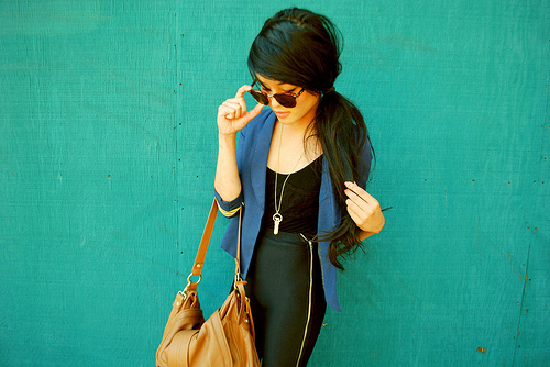 bag, black, blazer, fashion, girl, necklace, purse, style, sunglasses, teal