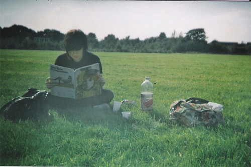 bag, girl, grass, green, magazine