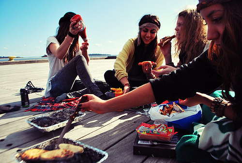 barbecue, beach, friends, girl, party