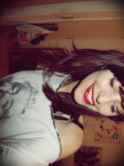 beautiful, blouse, cute, eyes, girl, hair, lipstick, marilyn, photo, photography, pretty, red lipstick, smile