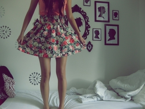 bed, dress, fashion, floral dress, floral print