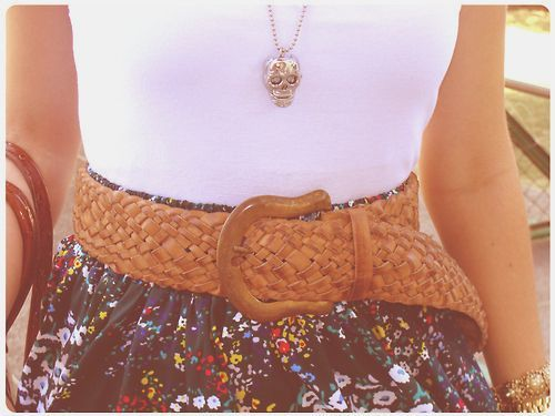 belt, fashion, floral, necklace, pretty, skirt, skull