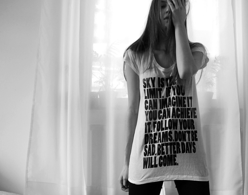 black and white, girl, inspire, message, shirt