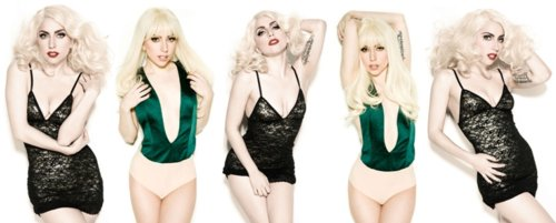black, blonde, dress, green, lady gaga
