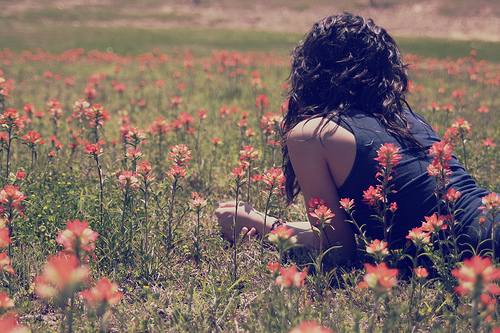 black, couple, fashion, flowers, girl, hair, love, nature, photography, pretty, vintage