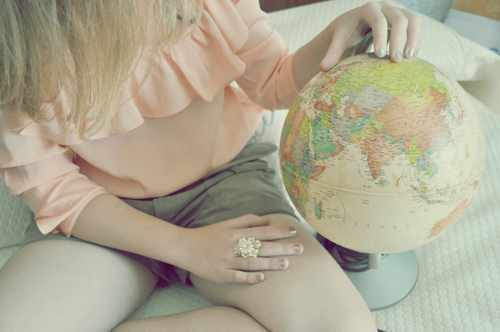 blonde, earth, fashion, girl, globe, hair, photography, vintage