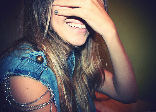 blonde, girl, jeansjacket, nail polish, smile