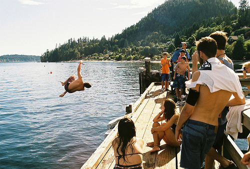blue, boys, forest, friends, girls, green, jumping, ocean, sea, summer, trees, water