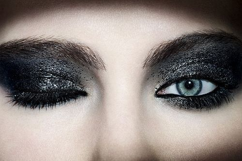 blue eyes, eye make up, face, glitter, near, woman
