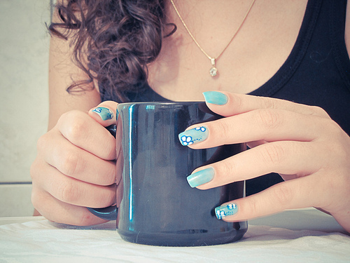 blue, girl, mug, nail polish, nails