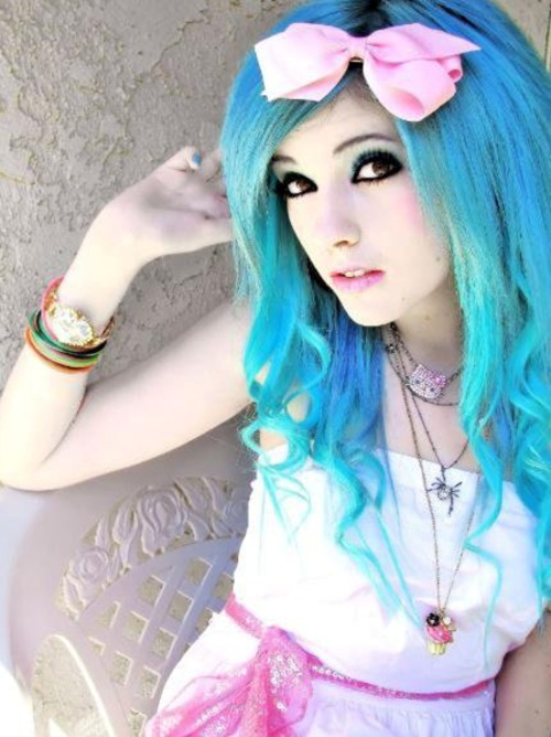 blue hair, bow, colorful, cute, dyed hair