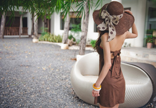bow, brown, dress, hat, palm tree