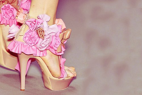 bow, brown flower, fashion, flowers, heels