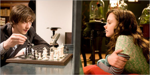 boy, chess, christina ricci, cute, girl, james mcavoy, penelope, smile