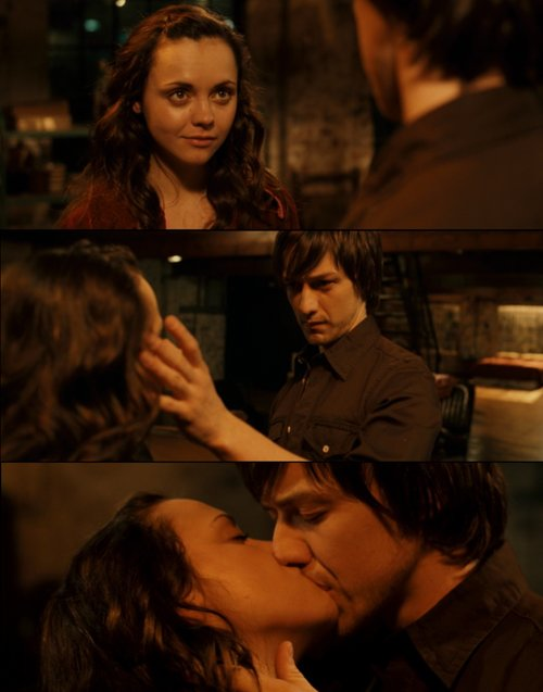 boy, christina ricci, couple, cute, girl, james mcavoy, kiss, penelope