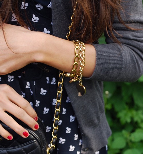 bracelets, cardigan, chanel, dress, fashion