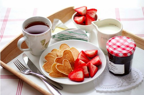 breakfast, cofee, coffee, food, heart, jelly, luxury, tea, pancakes, milk, strawberry, morning, card