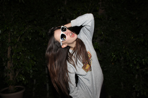 brown, brown hair, cool sunglasses, fashion, girl, gray, ray bon, style, sunglasses, tree