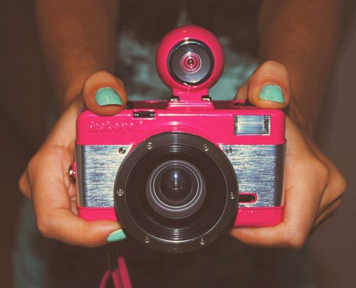 camera, lumography, photography, pink camera