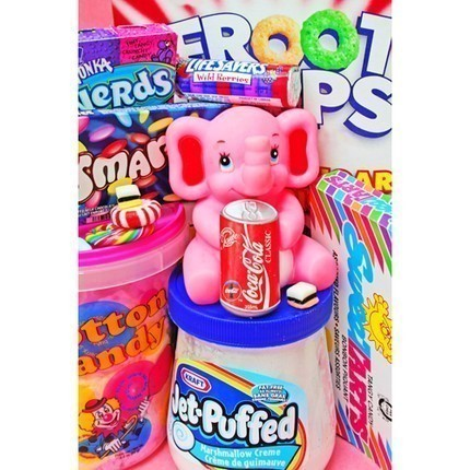 candy, coca cola, cotton candy, elephant, jet puffed, nerds, pink, pop art, swwet tarts