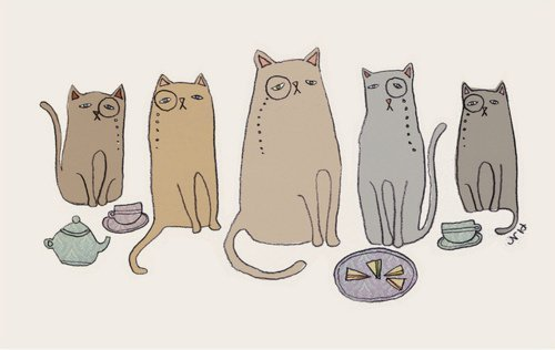 cats, illustration, monocle, sophisticated, tea