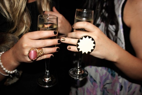 champagne, girls , house of harlow 1960, nails, party