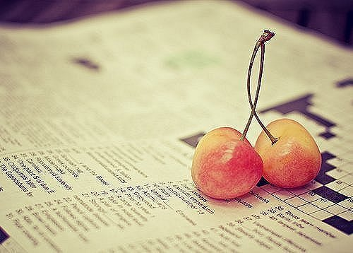 cherry, crossword, cute, fresh, fruit, newspaper, sweet