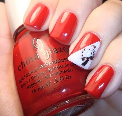 china glaze, nail polish, nails, red and white
